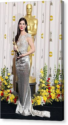 Sandra Bullock Wearing A Marchesa Gown Canvas Print by Everett