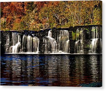 Sandstone Falls In Autumn Canvas Print by Matthew Winn