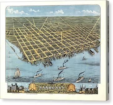 Sandusky Ohio 1870 Canvas Print by Donna Leach
