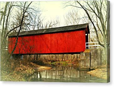 Sandy Creek Bridge In Winter Canvas Print by Marty Koch