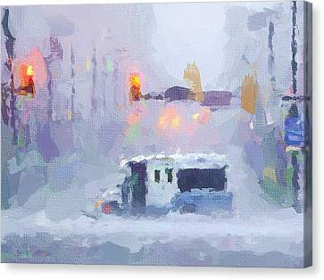 Times Square Canvas Print - Sandy Storm In Nyc by Yury Malkov