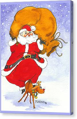 Santa And Rudolph Canvas Print by Peggy Wilson