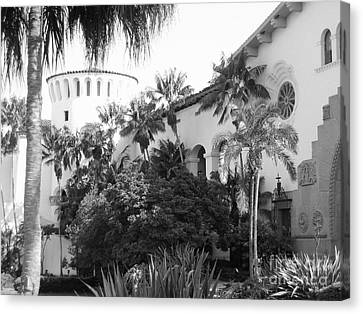Canvas Print featuring the photograph Santa Barbara Courthouse by Ann Johndro-Collins