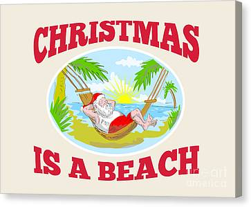 Santa Claus Father Christmas Beach Relaxing Canvas Print by Aloysius Patrimonio