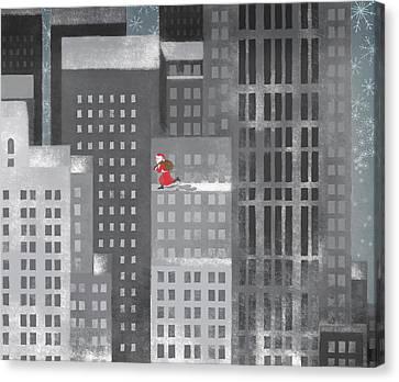 Santa Clause Running On A Skyscraper Canvas Print by Jutta Kuss