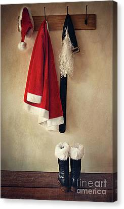 Santa Costume With Boots On Coathook Canvas Print by Sandra Cunningham