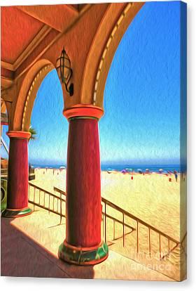 Santa Cruz Boardwalk - Beach Canvas Print by Gregory Dyer