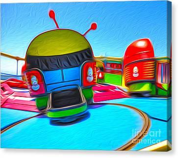Santa Cruz Boardwalk - Riptide Canvas Print by Gregory Dyer