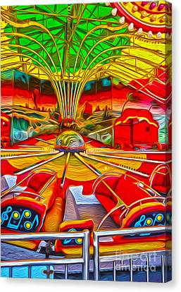 Santa Cruz Boardwalk - That Ride That Makes You Sick Canvas Print by Gregory Dyer