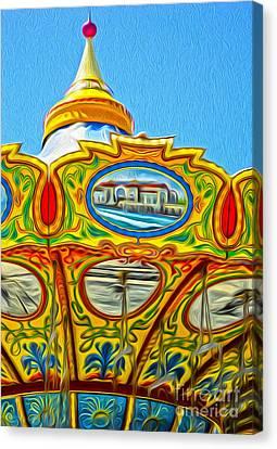 Santa Cruz Boardwalk - Tilt-a-whirl - 03 Canvas Print by Gregory Dyer
