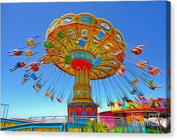 Santa Cruz Boardwalk - Tilt-a-whirl - 04a Canvas Print by Gregory Dyer