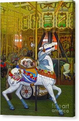 Santa Cruz Boardwalk Carousel Horse Canvas Print by Gregory Dyer