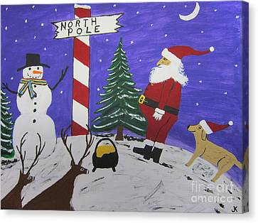 Santa Finds Pot Of Gold Canvas Print by Jeffrey Koss