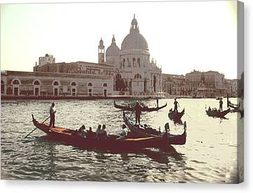 Canvas Print featuring the photograph Santa Maria Della Salute Grand Canal Venice by Tom Wurl