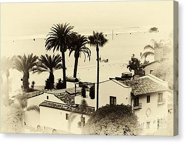 Old School Houses Canvas Print - Santa Monica Beach House by John Rizzuto