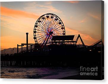 Santa Monica Pier Ferris Wheel Sunset Canvas Print