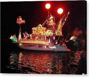 Santa's Sleigh Boat Canvas Print