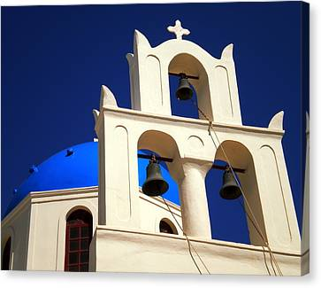 Canvas Print featuring the photograph santorini Church Greee by Colette V Hera  Guggenheim