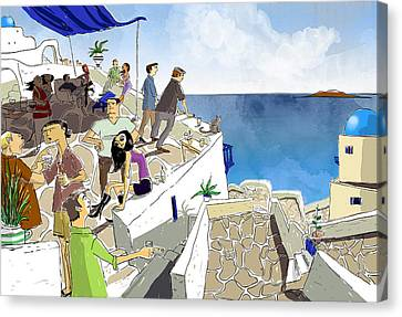 Santorini Rooftop  Canvas Print by Sean Hagan