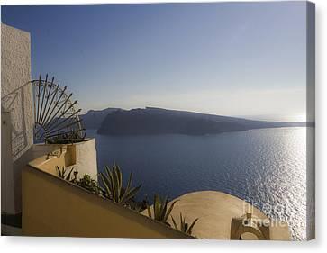 Leda Canvas Print - Santorini View by Leslie Leda