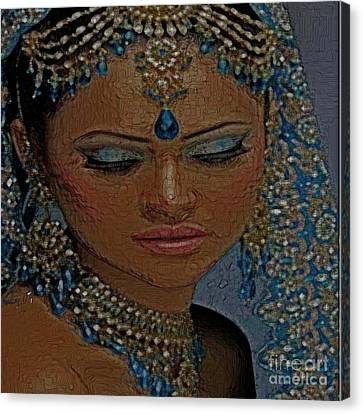 Saphire Goddess Canvas Print by Liz Loz