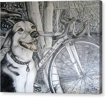 Sapphire And Bike Canvas Print by HHolly Bazmi