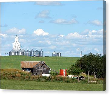 Canvas Print featuring the mixed media Saskatchewan Farms Old And New by Bruce Ritchie