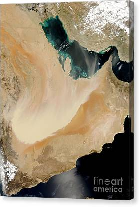 Satellite View Of A Dust Storm In Saudi Canvas Print