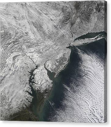 Satellite View Of A Noreaster Snow Canvas Print by Stocktrek Images