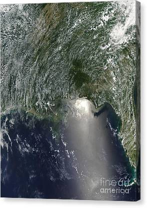 Satellite View Of An Oil Spill Canvas Print
