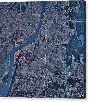 Satellite View Of Little Rock, Arkansas Canvas Print by Stocktrek Images
