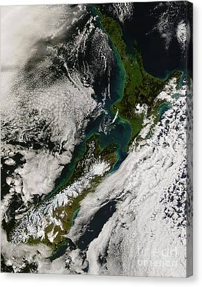 Satellite View Of New Zealand Canvas Print by Stocktrek Images