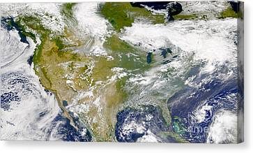 Satellite View Of North America Canvas Print by Stocktrek Images