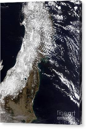 Satellite View Of Northeast Japan Canvas Print by Stocktrek Images
