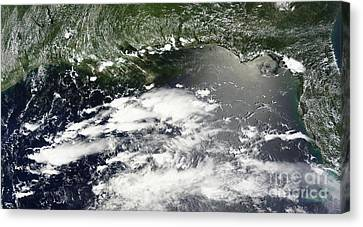 Satellite View Of Oil Leaking Canvas Print