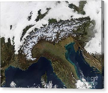 Satellite View Of The Alps Canvas Print by Stocktrek Images