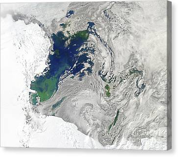 Satellite View Of The Ross Sea Canvas Print by Stocktrek Images