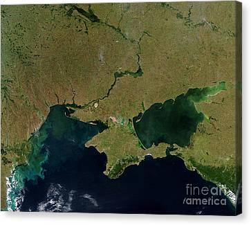 Satellite View Of The Ukraine Coast Canvas Print by Stocktrek Images
