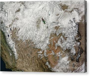 Satellite View Of The Western United Canvas Print by Stocktrek Images