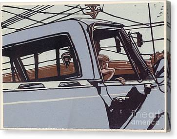 Linocut Canvas Print - Saturday Afternoon - Linocut Print by Annie Laurie