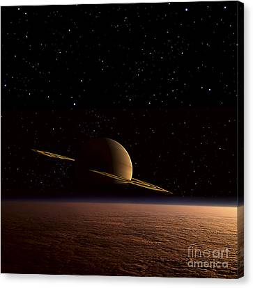 Saturn Floats In The Background Canvas Print by Frank Hettick