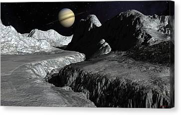 Saturn From The Surface Of Enceladus Canvas Print by David Robinson