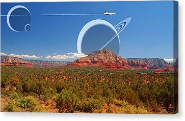 Saturn Rising Canvas Print by Larry Mulvehill