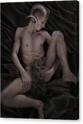 Satyr At Rest Canvas Print by John Clum