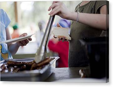 Canvas Print featuring the photograph Sausage Sizzle by Carole Hinding