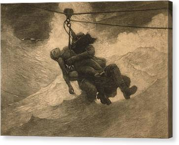 Lifeline Canvas Print - Saved 1888, An Etching By Winslow Homer by Everett