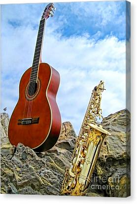 Sax And Guitar Canvas Print by Jason Abando