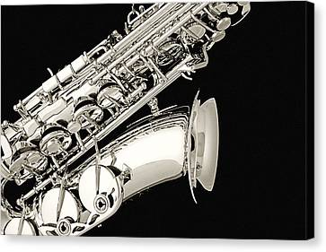 Saxophone Black And White Canvas Print by M K  Miller