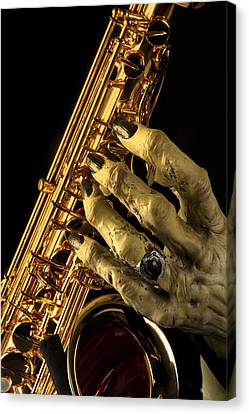 Saxophone Monster Hand Canvas Print by M K  Miller