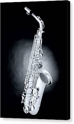 Saxophone On Spotlight Canvas Print by M K  Miller